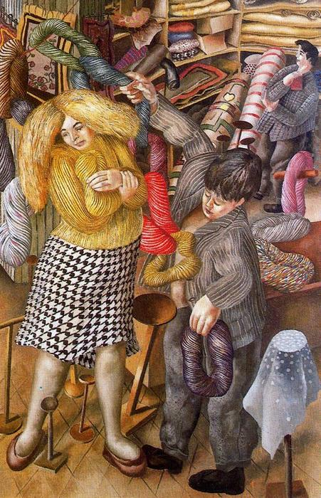 Woolshop バイ Stanley Spencer (1891-1959, United Kingdom)