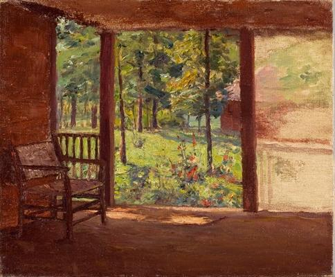 a 表示する から `porch` バイ Theodore Clement Steele (1847-1926, United States)
