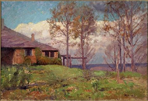 ザー スティール Residence-Clouds , ザー ホーム バイ Theodore Clement Steele (1847-1926, United States)