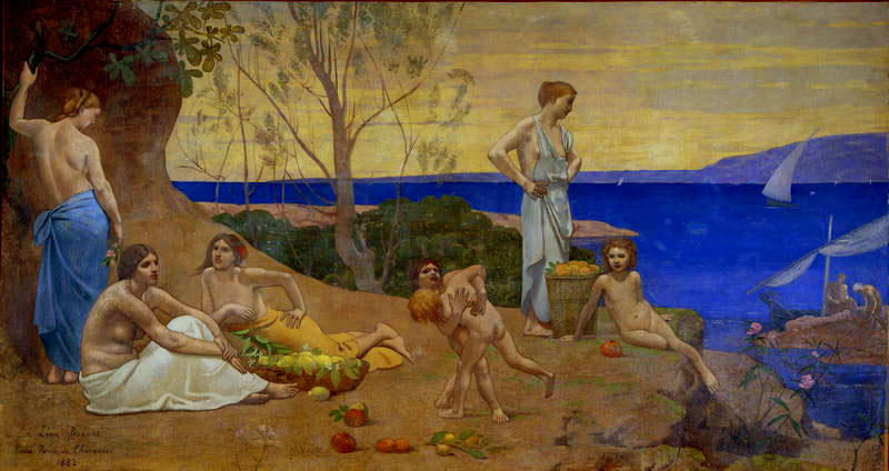 douxがペイ, 1882 バイ Pierre Puvis De Chavannes (1824-1898, France)