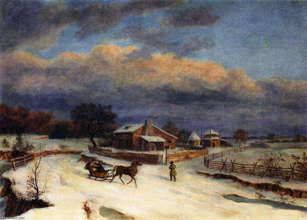 Kennett の広場 Winter, キャンバスに油絵 バイ Thomas Birch (1779-1851, United Kingdom)