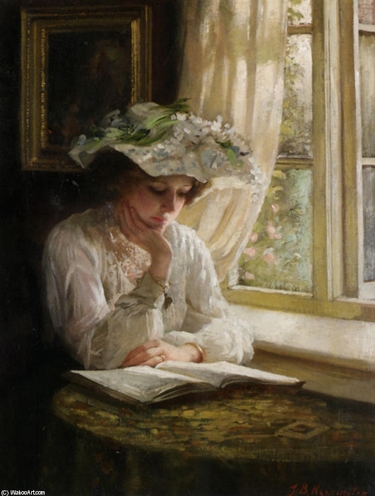 女性 読書 で ウインドウ バイ Thomas Benjamin Kennington (1856-1916, United Kingdom)