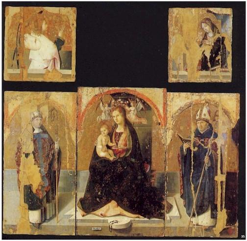 聖グレゴリーでのPolyptych, テンペラ バイ Antonello Di Giovanni Di Antonio (Antonello Da Messina) (1430-1479, Italy)