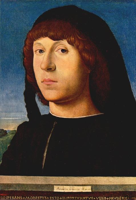 の肖像画 若い 男, パネルに油絵 バイ Antonello Di Giovanni Di Antonio (Antonello Da Messina) (1430-1479, Italy)