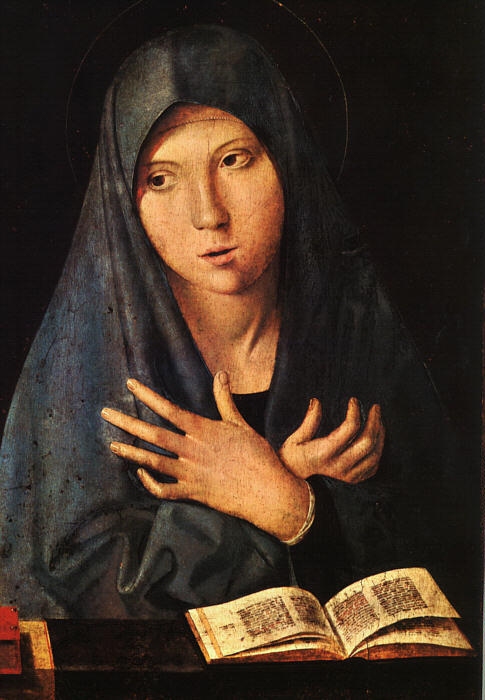処女 の 報知, パネルに油絵 バイ Antonello Di Giovanni Di Antonio (Antonello Da Messina) (1430-1479, Italy)