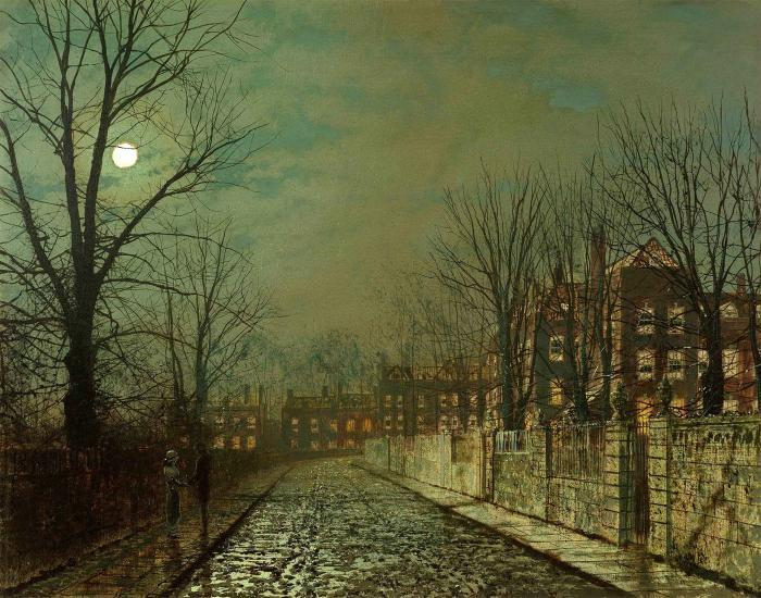 ザー Trysting 木 バイ John Atkinson Grimshaw (1836-1893, United Kingdom)