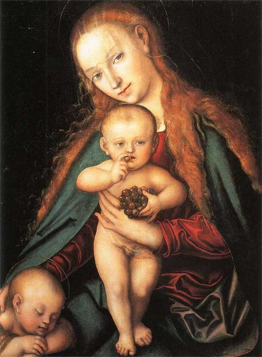 聖母子, 1540 バイ Lucas Cranach The Elder (1472-1553, Germany)
