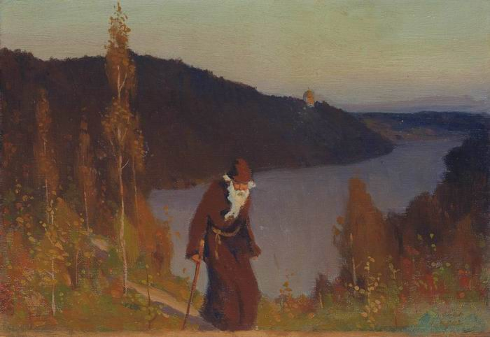 沈黙, 1888 バイ Mikhail Nesterov (1862-1942, Russian Empire)