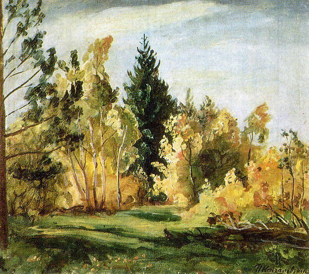 A ray of 日光 . ザー forest ., 1930 バイ Pyotr Konchalovsky (1876-1956, Russia)