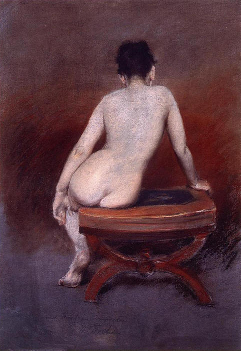 背部 of a ヌード, 1888 バイ William Merritt Chase (1849-1916, United States) | ArtsDot.com