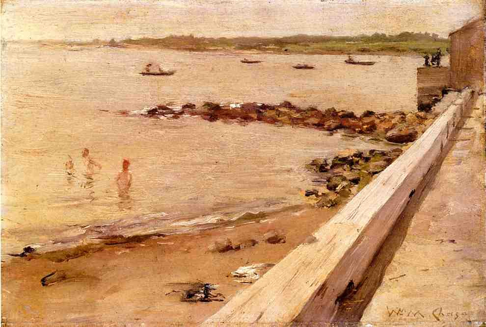 ザー 水浴びをする人 バイ William Merritt Chase (1849-1916, United States)