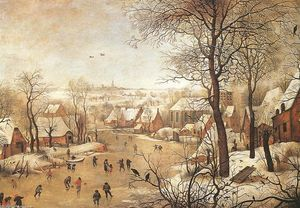 Pieter Bruegel The Younge.. - 冬 風景 と一緒に a 鳥- `trap`