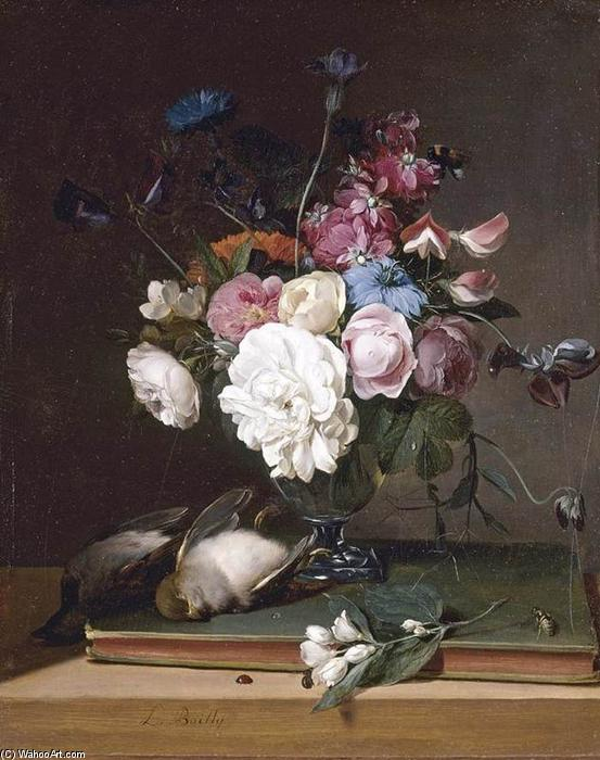 Still-Life of 花 には ガラス 花瓶, パネルに油絵 バイ Louis Léopold Boilly (1761-1845, France)