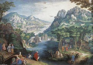 Gillis Van Coninxloo - Mountain 風景 と一緒に 川 Valley そして ..