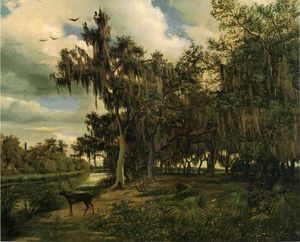 Louis Remy Mignot - 低地 と風景 鹿