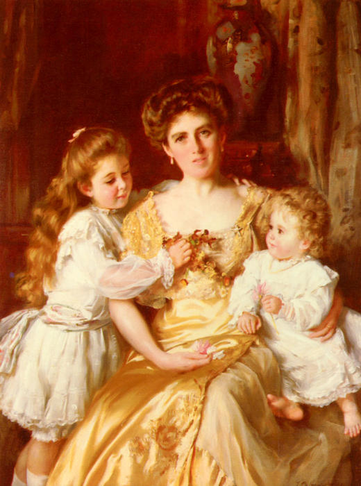 母の愛 バイ Thomas Benjamin Kennington (1856-1916, United Kingdom)