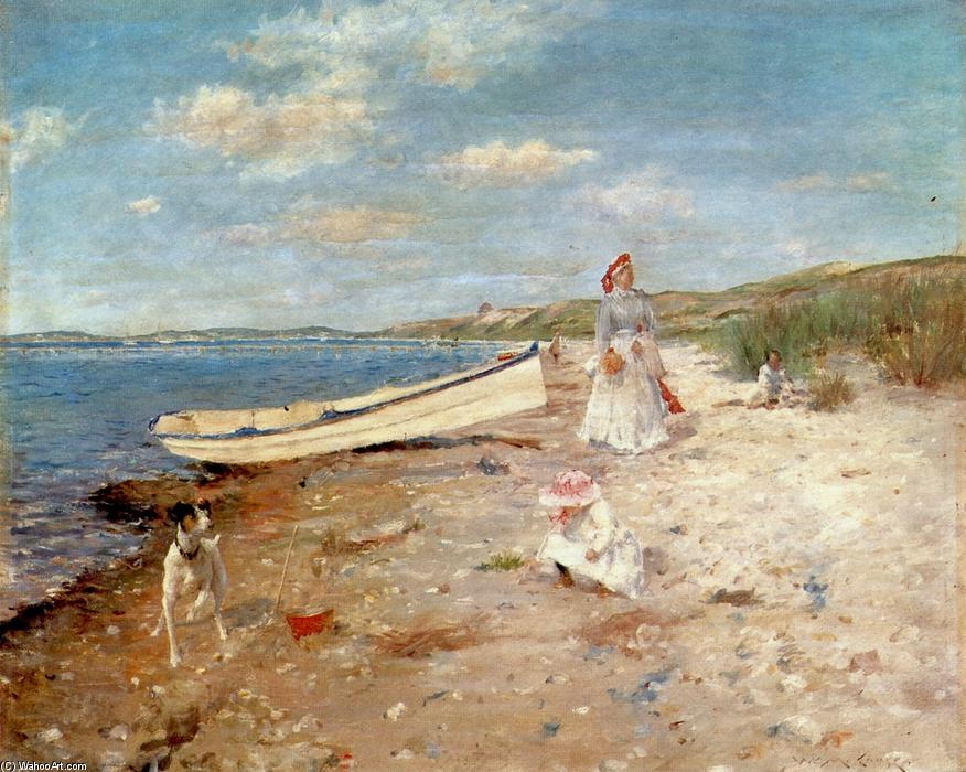 Shinnecock湾の晴れた日, パネルに油絵 バイ William Merritt Chase (1849-1916, United States)
