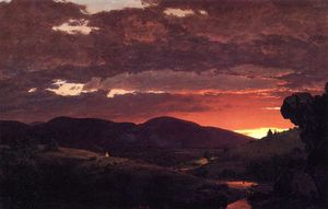 Frederic Edwin Church - トワイライト、「ショートアービタbetwixtの縮約形の縮約形昼と夜」