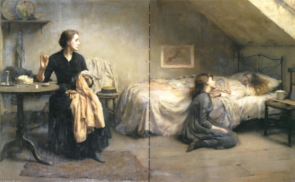未亡人と父の, 1888 バイ Thomas Benjamin Kennington (1856-1916, United Kingdom)