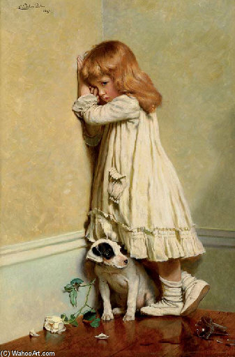 恥辱で - バイ Charles Burton Barber (1845-1894, United Kingdom)