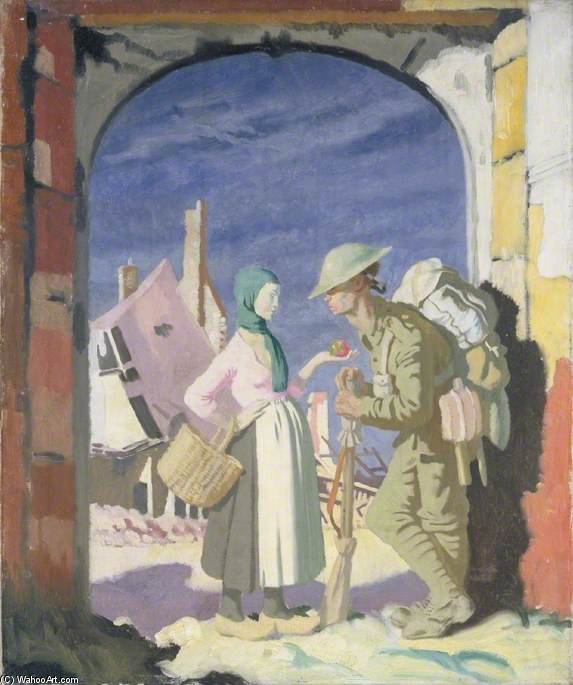 アダム と 前夜 で `péronne` バイ William Newenham Montague Orpen (1878-1931, Ireland)