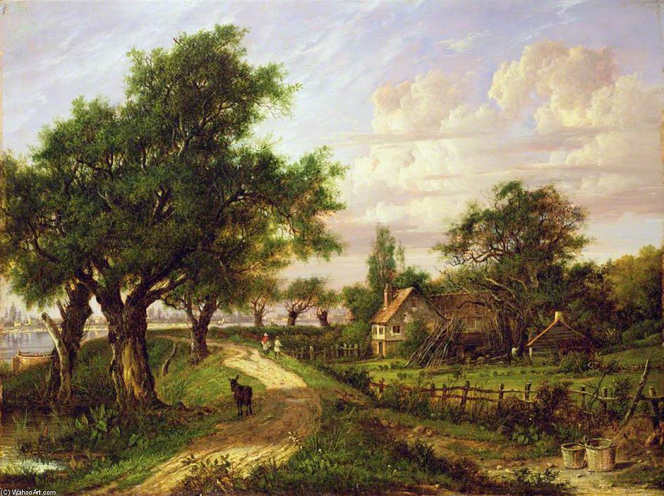 a `farmstead` で 川 バイ Patrick Nasmyth (1787-1831, United Kingdom)
