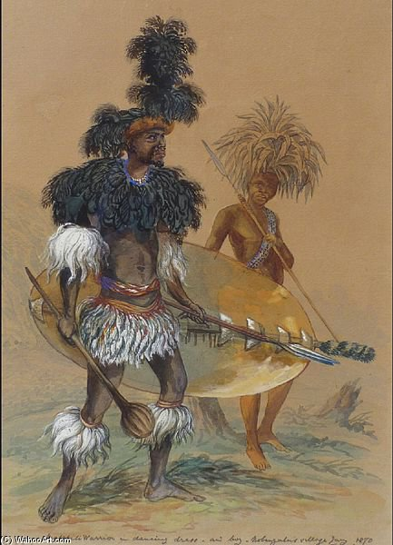 Matebele 戦士 ダンスで ドレス バイ Thomas Baines (1820-1875, United Kingdom)