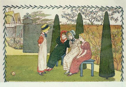 庭で バイ Kate Greenaway (1846-1901, United Kingdom)