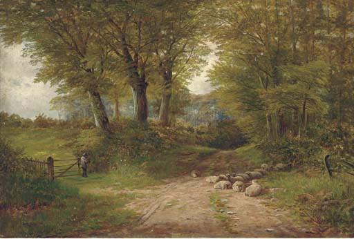 レーンの近くDovedale バイ Henry Hadfield Cubley (1858-1934, United Kingdom)