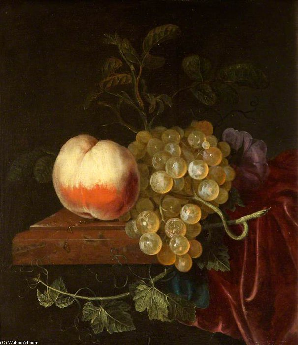 A 桃 そして、ブドウ の上に レッジ バイ Jacob Van Walscapelle (1644-1727, Netherlands)