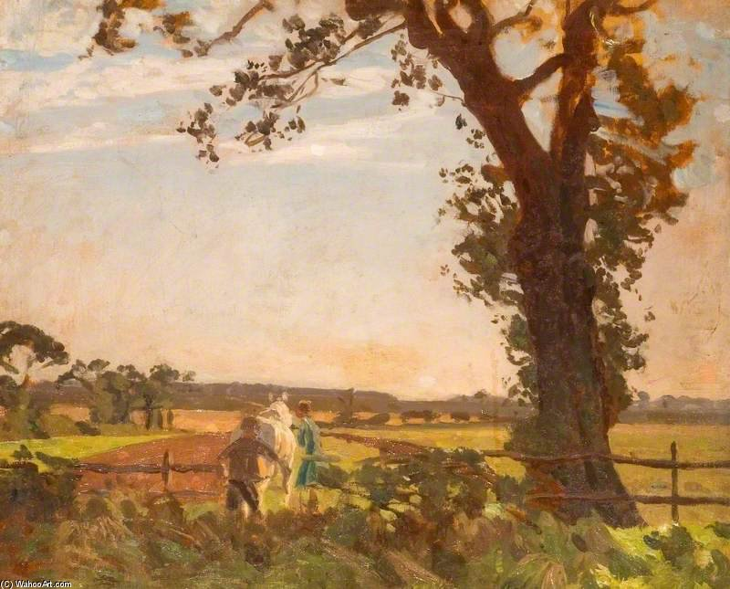 Ploughing バイ Algernon Talmage (1871-1939, United Kingdom) | 絵画の複製 | ArtsDot.com