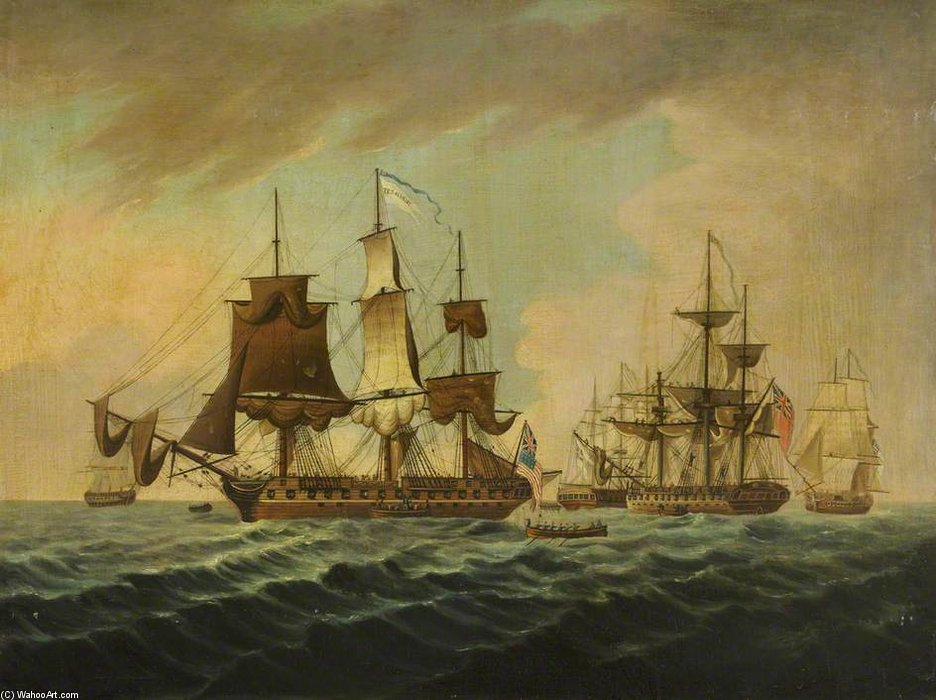 USS「社長」の捕獲 バイ Thomas Buttersworth (1768-1842, United Kingdom)