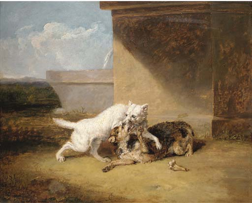 A Dog-fight バイ Abraham Cooper (1787-1868, United Kingdom)