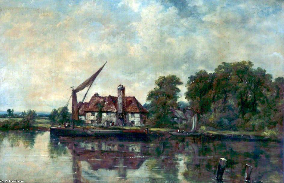 川 シーン と一緒に a `cottage` バイ Frederick Waters Watts (1800-1870, United Kingdom)