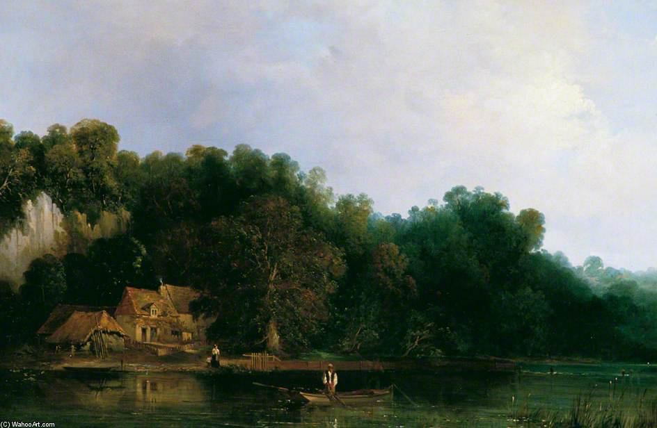 テムズの表示 から Tilehurst バイ Frederick Waters Watts (1800-1870, United Kingdom)