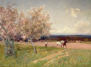 Alfred Edward East - Ploughing