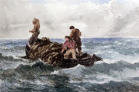 Seafishermenで海で漁師 バイ Thomas Collier (1620-1691, United Kingdom)