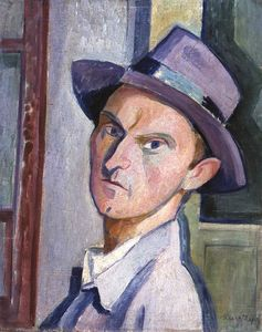 Janos Kmetty - Self-portrait には 紫の 帽子