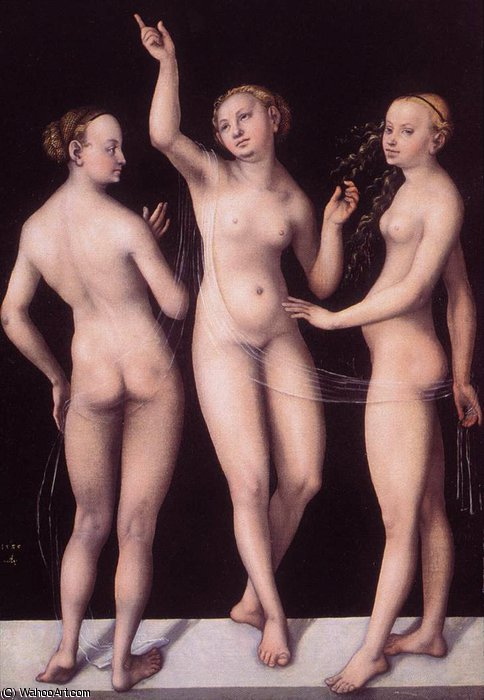 三 美神 バイ Lucas Cranach The Elder (1472-1553, Germany)