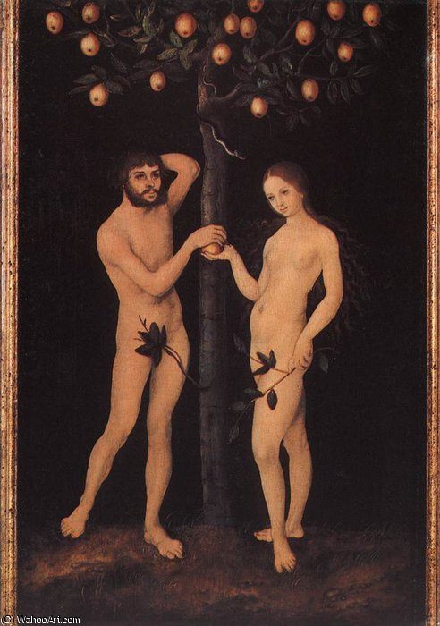アダムとイブ バイ Lucas Cranach The Elder (1472-1553, Germany)