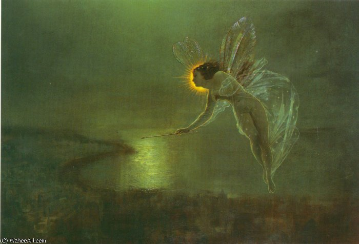 ナイトAMKのスピリット バイ John Atkinson Grimshaw (1836-1893, United Kingdom)