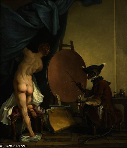 モンキー 画家  バイ Jean Baptiste Deshays (1729-1765, France)