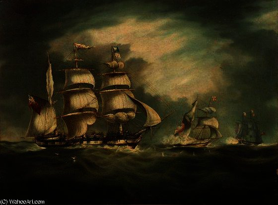 HMSベルPouleの、HMSエルメス、およびジプシー バイ Thomas Buttersworth (1768-1842, United Kingdom)