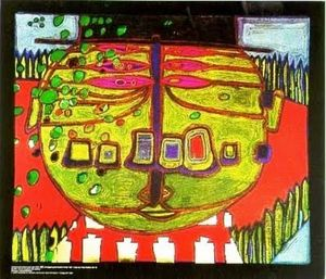 Friedensreich Hundertwasser - Three-Eyed グリーン仏 と一緒に 帽子
