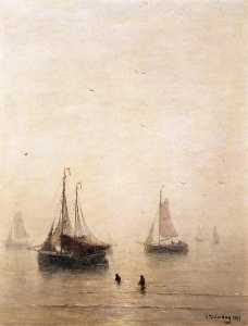 Hendrik Willem Mesdag - 釣り ボート で 海